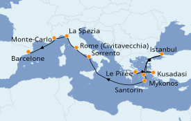 Itinerario de crucero Mediterráneo 11 días a bordo del Norwegian Spirit