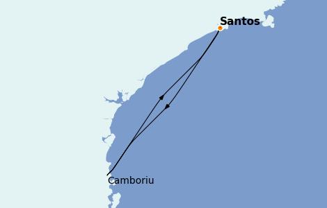 Itinerario del crucero Suramérica 3 días a bordo del MSC Preziosa