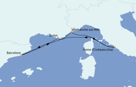 Itinerario del crucero Mediterráneo 5 días a bordo del Vision of the Seas