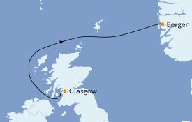 Itinerario de crucero Fiordos y Noruega 3 días a bordo del