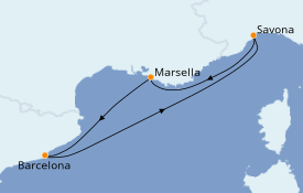Itinerario de crucero Mediterráneo 4 días a bordo del Costa Fascinosa