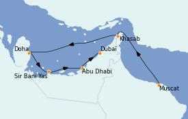 Itinerario de crucero Dubái 9 días a bordo del Le Bougainville
