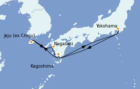 Itinerario de crucero Asia 7 días a bordo del Diamond Princess