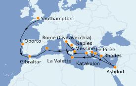Itinerario de crucero Mediterráneo 25 días a bordo del Island Princess