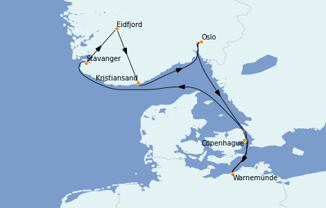 Itinerario del crucero Fiordos y Noruega 7 días a bordo del MSC Poesia