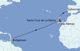 Itinerario de crucero Islas Canarias 14 días a bordo del Silver Spirit