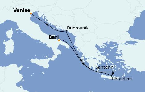 Itinerario del crucero Grecia y Adriático 6 días a bordo del MSC Musica