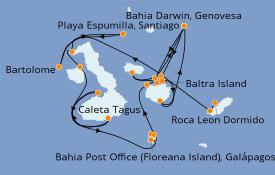 Itinerario de crucero Islas Galápagos 11 días a bordo del