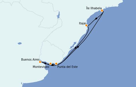 Itinerario del crucero Suramérica 9 días a bordo del MSC Sinfonia