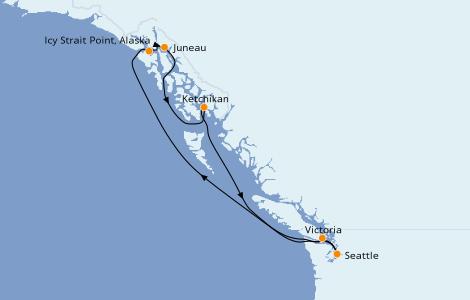 Itinerario del crucero Alaska 7 días a bordo del Norwegian Sun