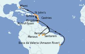 Itinerario de crucero Caribe del Este 25 días a bordo del MS Insignia