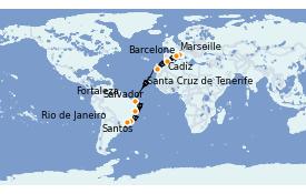 Itinerario de crucero Trasatlántico y Grande Viaje 2021 17 días a bordo del MSC Preziosa