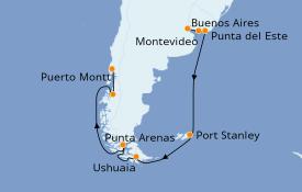 Itinerario de crucero Suramérica 17 días a bordo del Seven Seas Navigator