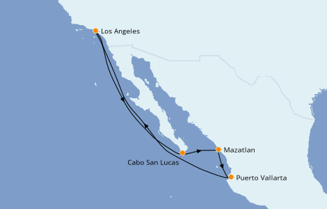 Itinerario del crucero Riviera Mexicana 7 días a bordo del Majestic Princess