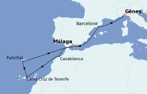 Itinerario del crucero Mediterráneo 8 días a bordo del MSC Poesia