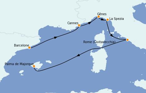 Itinerario del crucero Mediterráneo 6 días a bordo del MSC Grandiosa