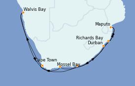 Itinerario de crucero África 15 días a bordo del MS Nautica