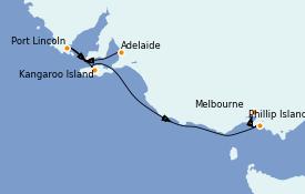 Itinerario de crucero Australia 2022 6 días a bordo del Sapphire Princess