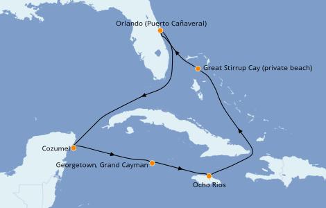 Itinerario del crucero Caribe del Oeste 7 días a bordo del Norwegian Escape