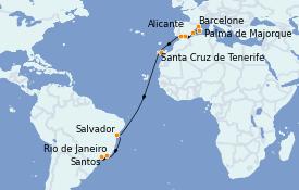 Itinerario de crucero Trasatlántico y Grande Viaje 2021 17 días a bordo del MSC Sinfonia