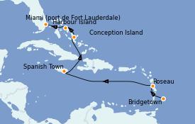 Itinerario de crucero Caribe del Este 9 días a bordo del Silver Wind