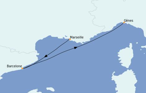 Itinerario del crucero Mediterráneo 3 días a bordo del MSC Preziosa
