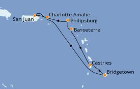 Itinerario de crucero Caribe del Este 8 días a bordo del Carnival Fascination