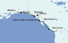 Itinerario de crucero Alaska 8 días a bordo del Majestic Princess