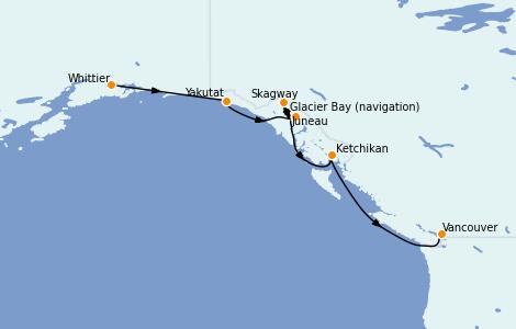 Itinerario del crucero Alaska 7 días a bordo del Majestic Princess
