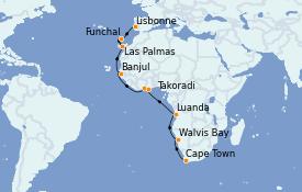 Itinerario de crucero África 22 días a bordo del Azamara Pursuit