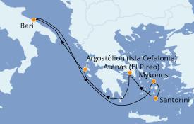 Itinerario de crucero Grecia y Adriático 8 días a bordo del Costa Mediterranea