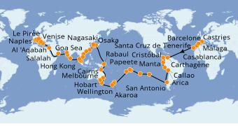 Itinerario de crucero Vuelta al mundo 2022 120 días a bordo del Costa Deliziosa