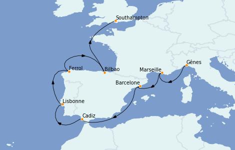 Itinerario del crucero Mediterráneo 10 días a bordo del MSC Magnifica