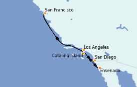 Itinerario de crucero California 8 días a bordo del Ruby Princess