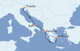 Itinerario de crucero Grecia y Adriático 4 días a bordo del MSC Fantasia
