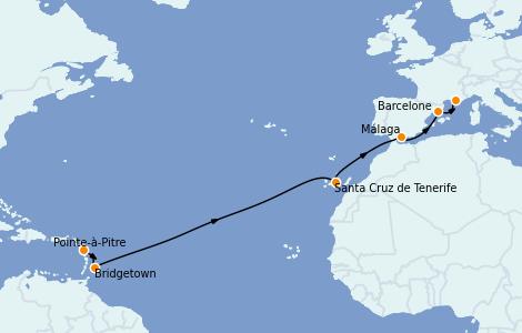 Itinerario del crucero Trasatlántico y Grande Viaje 2022 13 días a bordo del MSC Seaview