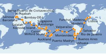 Itinerario de crucero Vuelta al mundo 2020 117 días a bordo del MSC Magnifica