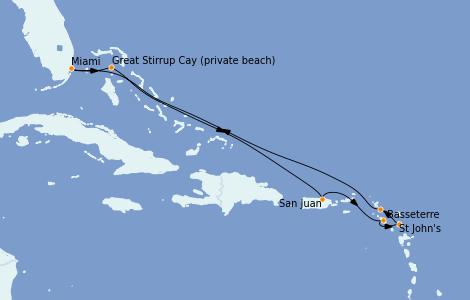 Itinerario del crucero Caribe del Este 9 días a bordo del Seven Seas Splendor