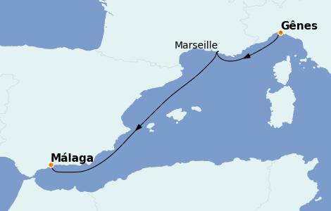Itinerario del crucero Mediterráneo 3 días a bordo del MSC Fantasia