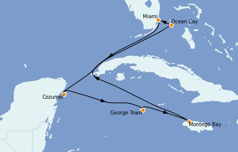 Itinerario del crucero Caribe del Oeste 7 días a bordo del MSC Seashore