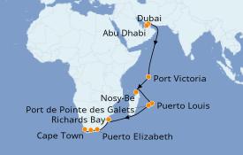 Itinerario de crucero África 22 días a bordo del Norwegian Dawn