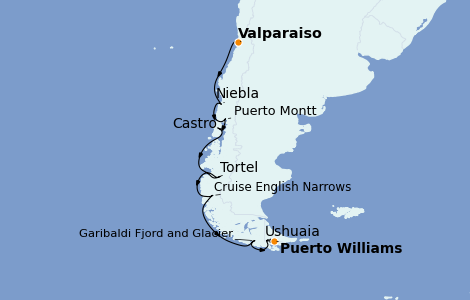 Itinerario del crucero Norteamérica 12 días a bordo del Silver Wind