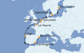 Itinerario de crucero Mar Báltico 13 días a bordo del Costa Fortuna