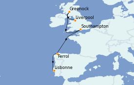Itinerario de crucero Islas Británicas 12 días a bordo del MSC Virtuosa