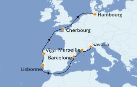 Itinerario de crucero Mediterráneo 10 días a bordo del Costa Fortuna