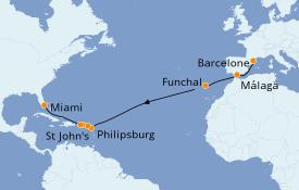 Itinerario de crucero Trasatlántico y Grande Viaje 2021 17 días a bordo del MSC Seashore