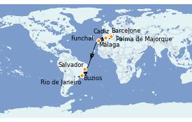 Itinerario de crucero Trasatlántico y Grande Viaje 2021 16 días a bordo del MSC Splendida