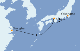 Itinerario de crucero Asia 5 días a bordo del MSC Bellissima
