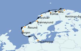 Itinerario de crucero Fiordos y Noruega 15 días a bordo del Seabourn Venture