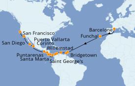 Itinerario de crucero Vuelta al mundo 2021 30 días a bordo del MSC Magnifica